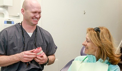 Dr. Calderwood with cosmetic dentistry patient