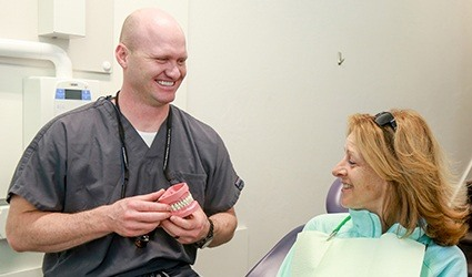 Dr. Calderwood with dental patient
