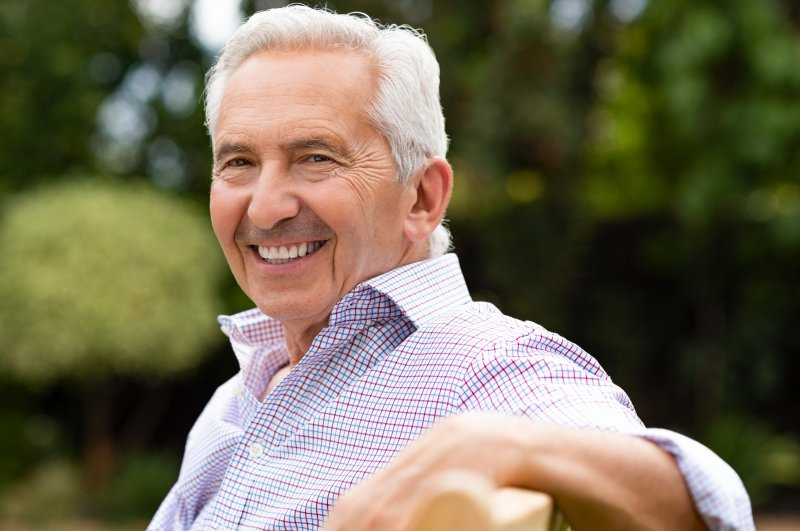 Senior man smiling with white, straight teeth